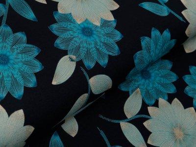 Jersey Viskose - hübsche Blumen - schwarz/türkis
