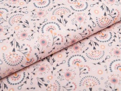 Webware Popeline Baumwolle - Blumen und Bögen - rosa