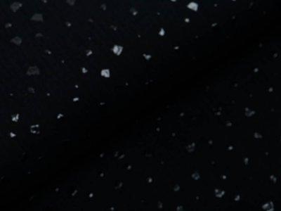 Musselin Baumwolle Hydrofiel Double Gauze mit Foliendruck - Flocken - schwarz