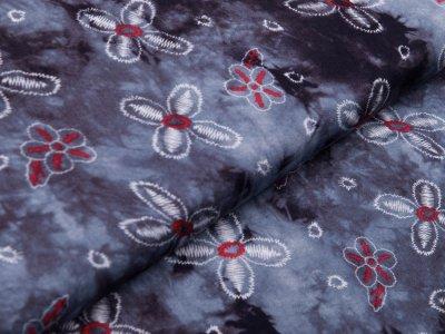 Webware Viskose - Blüten auf Batik - grau