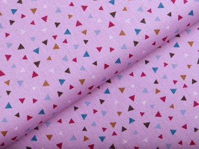 Webware Popeline Baumwolle - Dreiecke - flieder