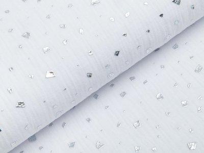 Musselin Baumwolle Hydrofiel Double Gauze mit Foliendruck - Flocken - weiß/silber