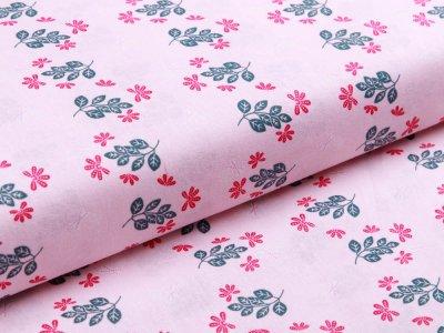 Webware Baumwolle - Blätterzweige - rosa