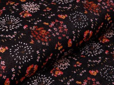 Alpenfleece in Jeansoptik - Blumen - schwarz