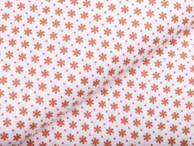 Webware Popeline Baumwolle - Blumen - wollweiß