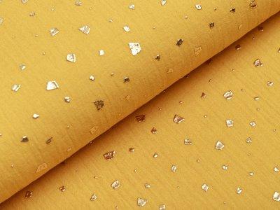Musselin Baumwolle Hydrofiel Double Gauze mit Foliendruck - Flocken - gelb/gold