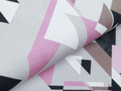 Sweat French Terry Swafing  Streetstyle by lycklig design - Dreieckes-Muster - grau/altrosa