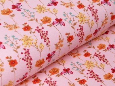 Alpenfleece - Blumen und Schmetterlinge - rosa