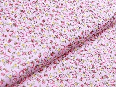 Twill Baumwolle - Blüten - rosa