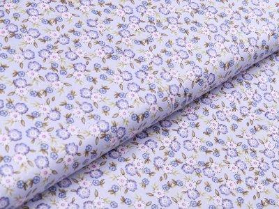 Twill Baumwolle - Blüten - grau