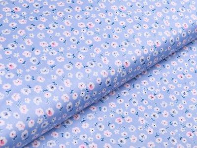 Twill Baumwolle - Blumen - blau