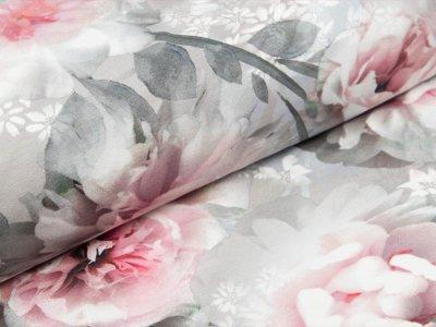 Jersey Digital - Blumen Aquarell - grau