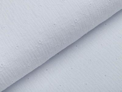 Musselin Baumwolle Double Gauze mit Lochstickerei Broderie - Blumenranken - weiß