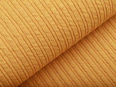 Wollstoff - kleines Zopfmuster - uni dunkles gelb