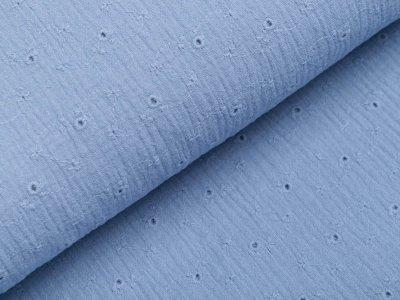 Musselin Baumwolle Double Gauze mit Lochstickerei Broderie - Blumenranken - jeansblau