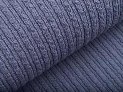 Wollstoff - kleines Zopfmuster - uni jeansblau