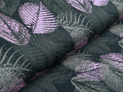 Sweat French Terry Swafing Levi - strukturierte Blätter - khaki/rosa