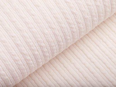 Wollstoff - kleines Zopfmuster - uni wollweiß