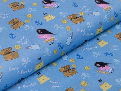 Webware Baumwolle Popeline Digitaldruck Peppa Pig - Peppa auf Schatzsuche - blau