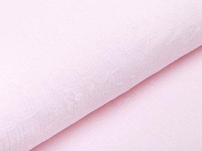 Musselin Baumwolle Double Gauze - aufgestickte Blumenranken - rosa