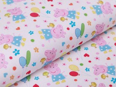 Webware Baumwolle Popeline Digitaldruck Peppa Pig - Peppa auf einer Party - weiß