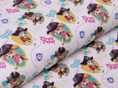 Webware Baumwolle Popeline Digitaldruck Paw Patrol - Marshall und Freunde - weiß