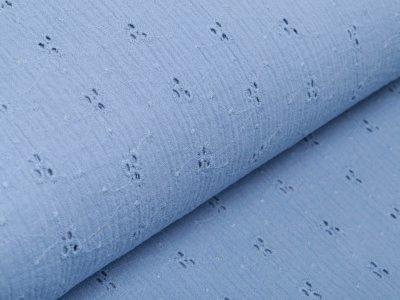 Musselin Baumwolle Double Gauze mit Lochstickerei Broderie - aufgestickte Blumen - jeansblau