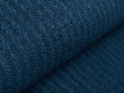 Bouclé Mantelstoff - gestrichelte Längsstreifen - blau