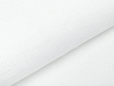 Musselin Baumwolle Double Gauze mit Lochstickerei Broderie - aufgestickte Blumen - wollweiß