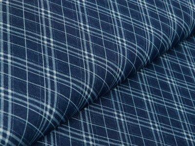 Leichter Jeansstoff - verschobene Karos - dark denim/blau