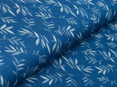 Leichter Jeansstoff - Zweige - denim/blau