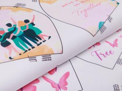 Webware Baumwolle Digitaldruck PANEL ca. 60 x 145 cm für Behelfsmasken - 16 verschiedene Motive - weiß