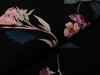 Webware Viskose - hübsche Blumen - schwarz