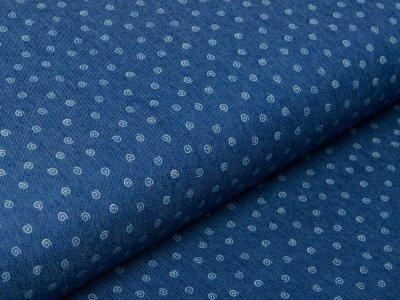 Leichter Jeansstoff - kleine Wirbel - jeansblau