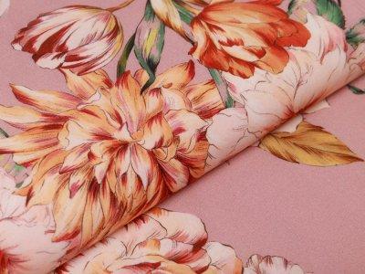 Webware Viskose - große Blumen - altrosa