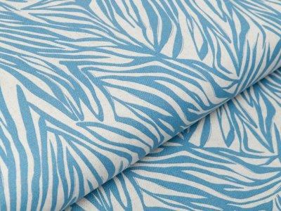 Webware Viskose Halbleinen - Blätterprint - beige/blau