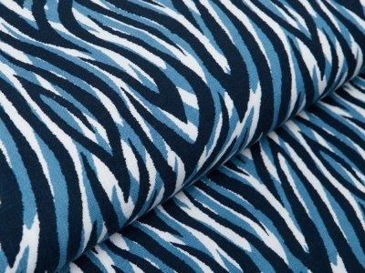 Webware Viskose Leinenoptik - Animalprint - weiß/blau