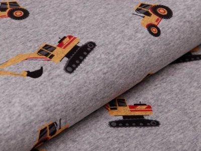 Alpenfleece - Baufahrzeuge - meliert grau