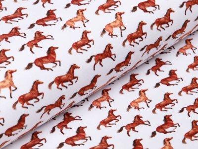 Sweat French Terry Digitaldruck - Pferde - wollweiß