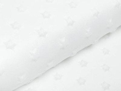 Hochwertiger Supersoft Plüsch Velboa - Sterne - weiß