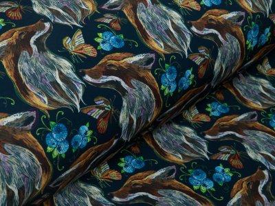 Softshell Jackenstoff Digitaldruck - Füchse und Schmetterlinge - marine