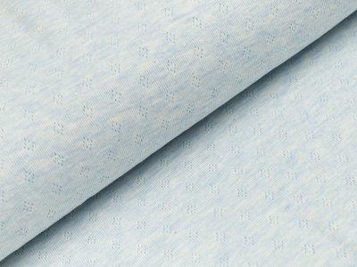 Baumwolle-Feinstrick - Pointoille Lochmuster - meliert blau