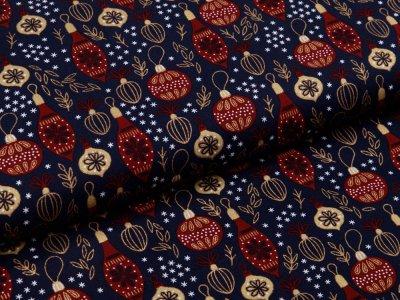 Webware Baumwolle Popeline - Weihnachtlicher Baumbehang - nachtblau