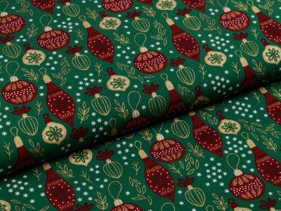 Webware Baumwolle Popeline - Weihnachtlicher Baumbehang - tannengrün