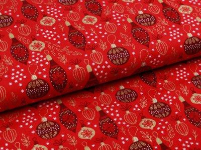 Webware Baumwolle Popeline - Weihnachtlicher Baumbehang - rot