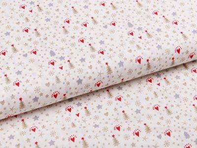 Webware Baumwolle Popeline - Weihnachtsbäume und Sterne - wollweiß