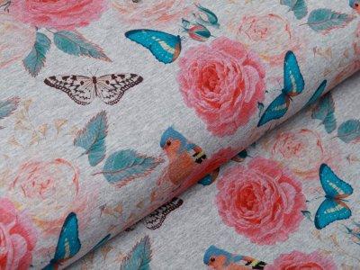 Sweat French Terry Digitaldruck - Schmetterlinge und Rosen - meliert grau