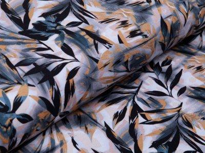 Sweat French Terry Digitaldruck - Herbstblätter - rauchblau