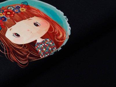 Sweat French Terry Digitaldruck Stenzo Lola Daisy PANEL ca. 75 cm x 150 cm -  Lola auf Jeansoptik - schwarz