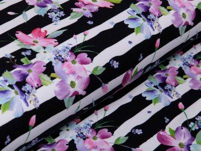 Sweat Fench Terry Fräulein von Julie - hübsche Blüten auf Streifen - weiß